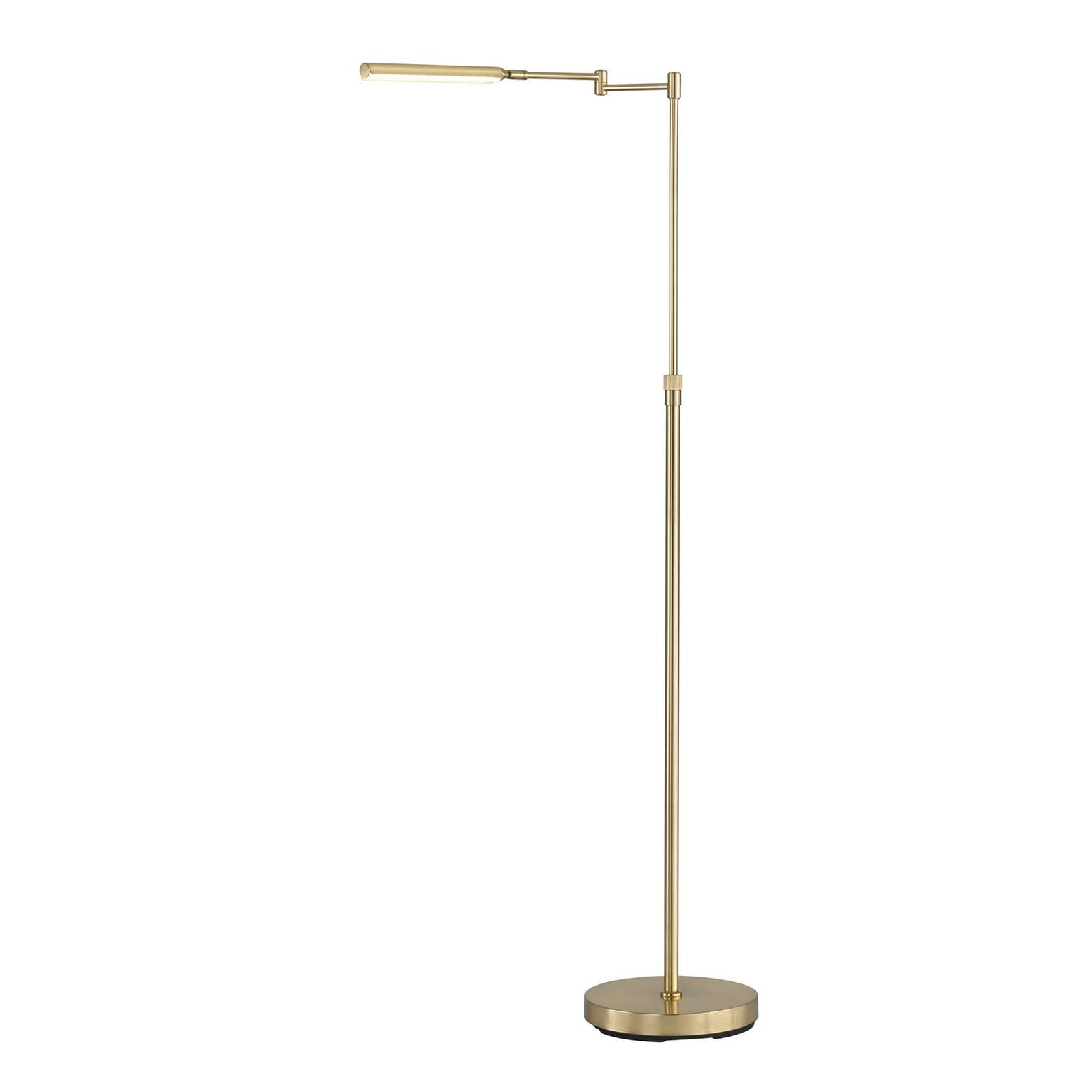 LED stojací lampa Nami s nožním stmívačem, mosazná