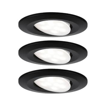 Paulmann Calla focos empotrados LED 3 ud negro