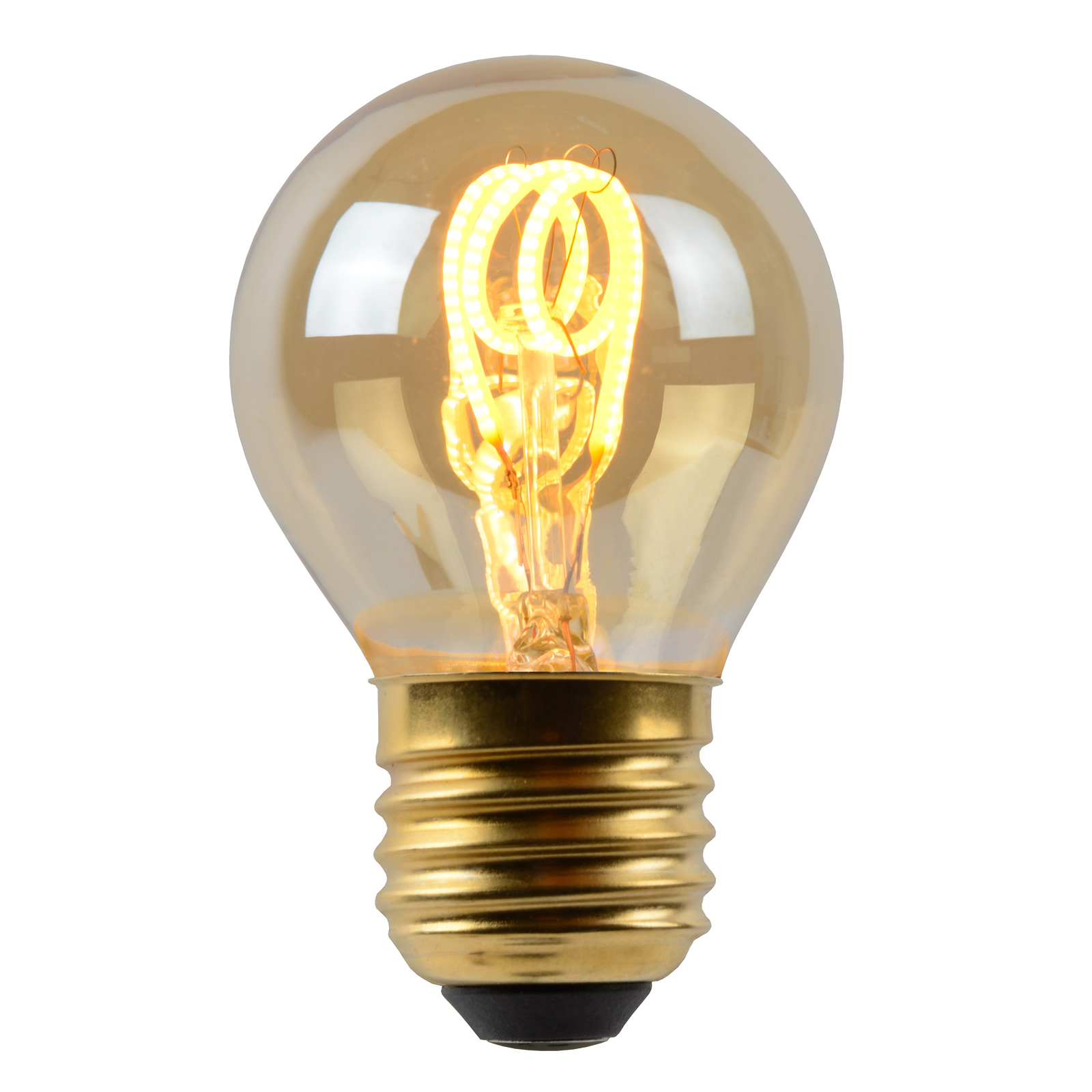 LED-pære E27 G45 3W, rav, 2.200K, kan dæmpes