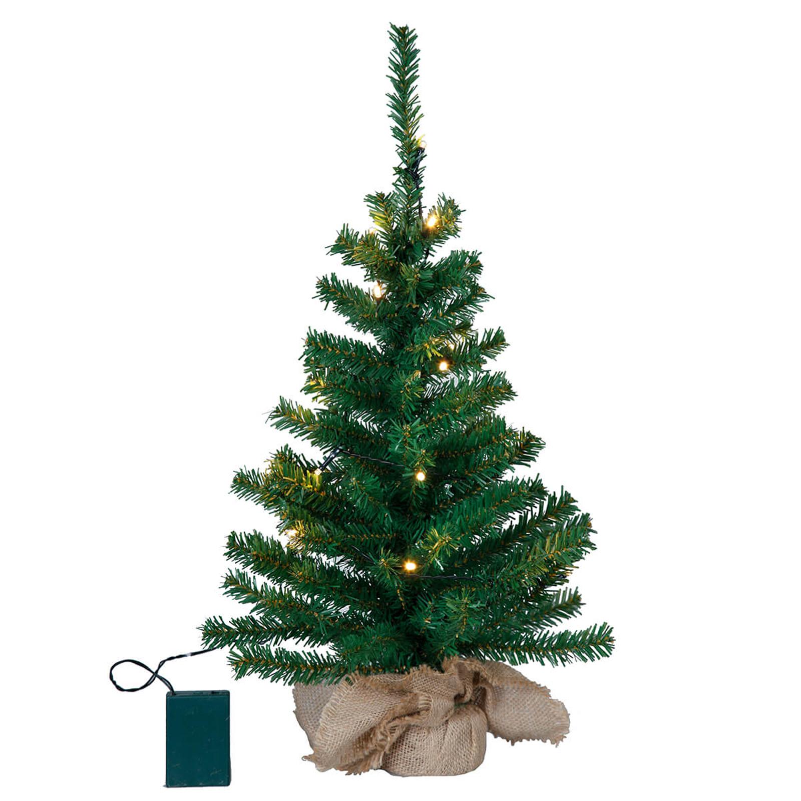 Małe drzewko LED Toppy w worku jutowym