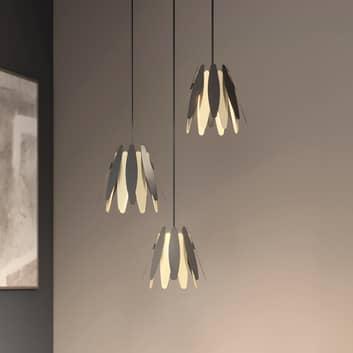 Lucande Lounit lampada sospensione nero-oro 3 luci