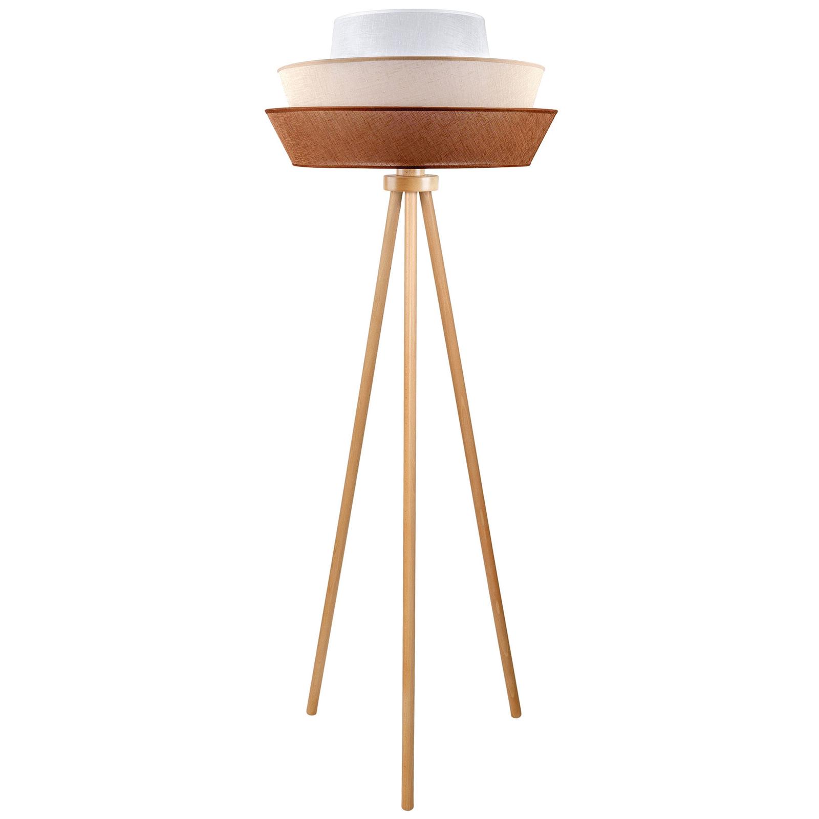 Lotos standerlampe med trefod, brun, beige, hvid