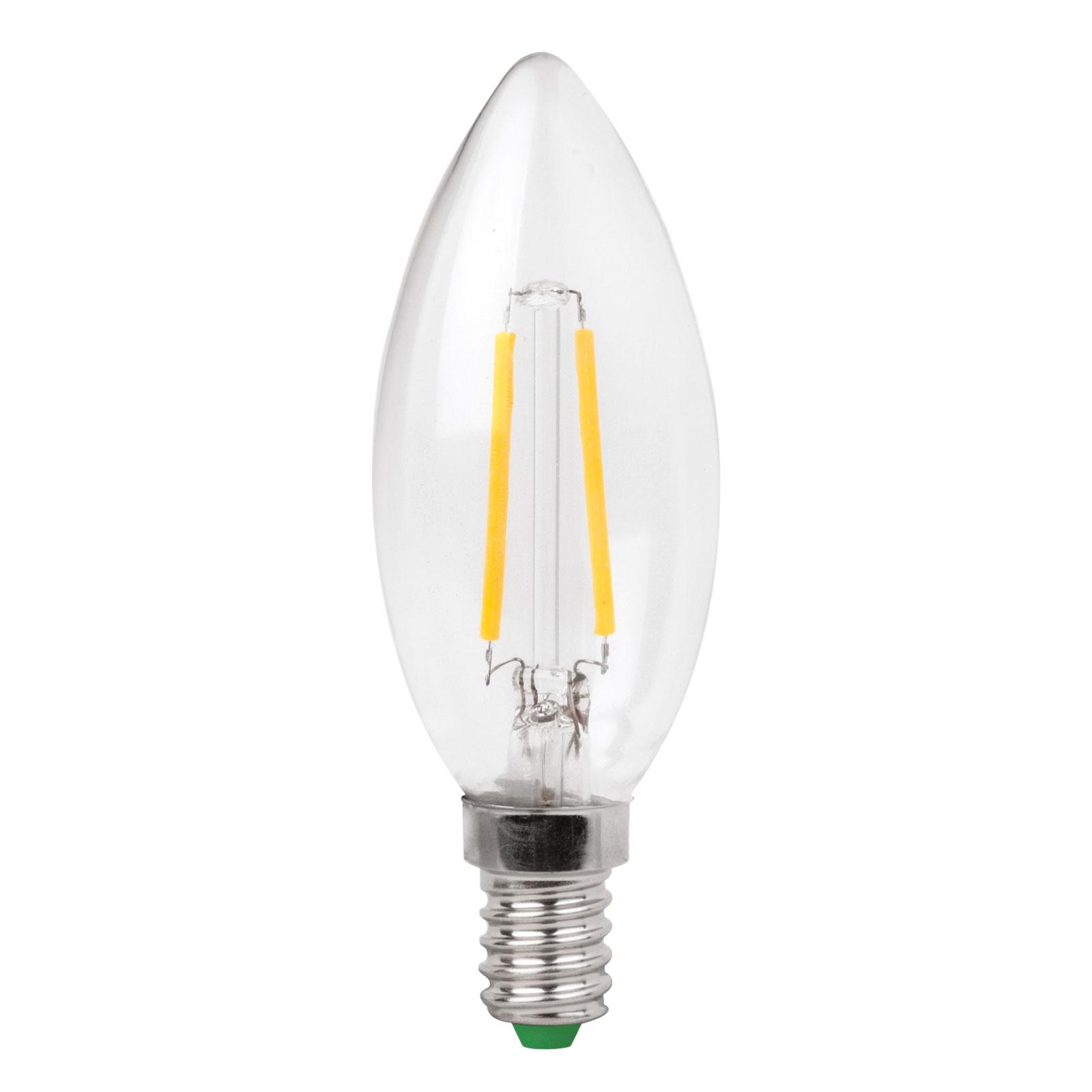 LED-kertepære E14 3W filament, klar, varmhvid