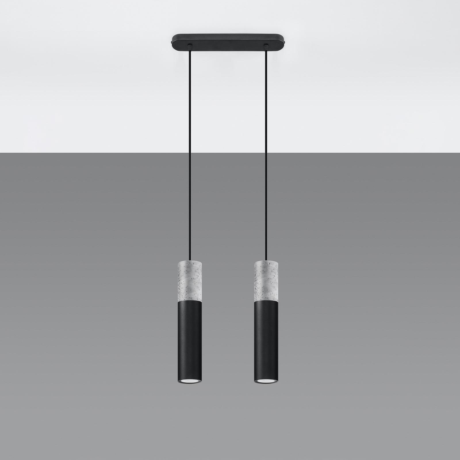 Suspension Tube, béton, noire, à deux lampes