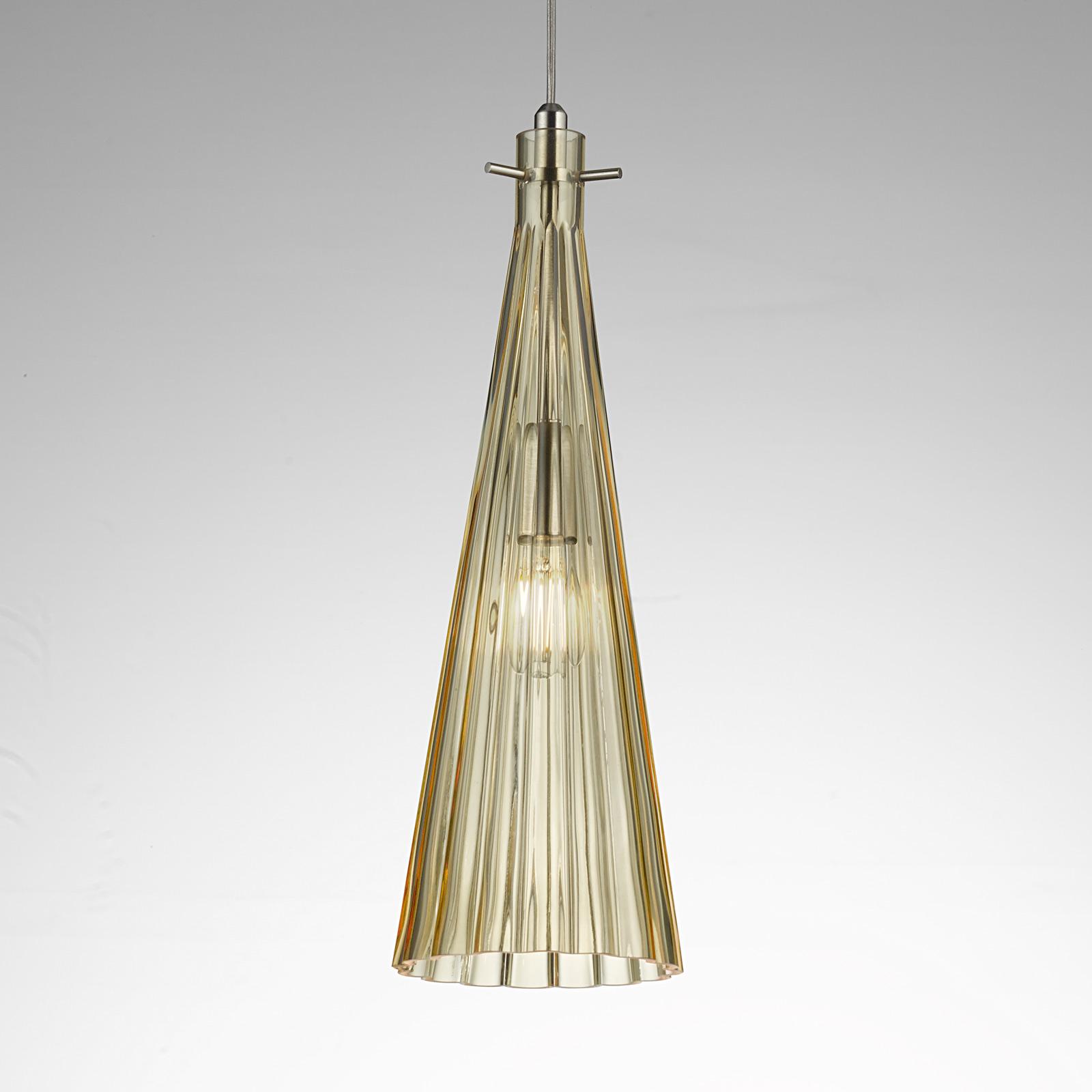 Lampa wisząca Costa Rica ze szkła, bursztyn