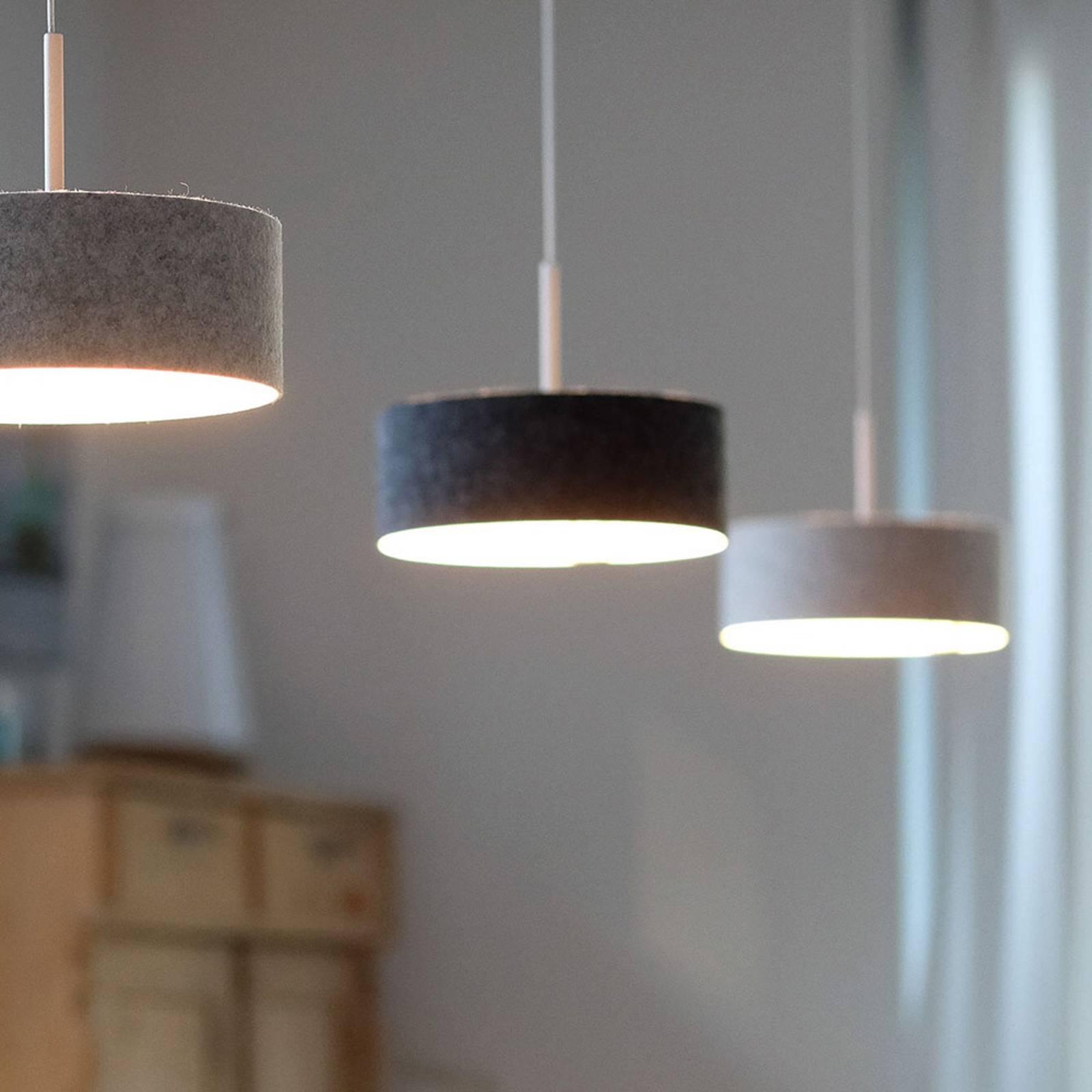 Suspension LED LARAfelt S, Ø20cm, graphite/blanc