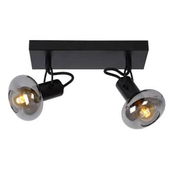 Takspotlight Madee, svart/rökgrå, 2 lampor