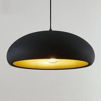 Metallpendellampe Gerwina, svart og gull