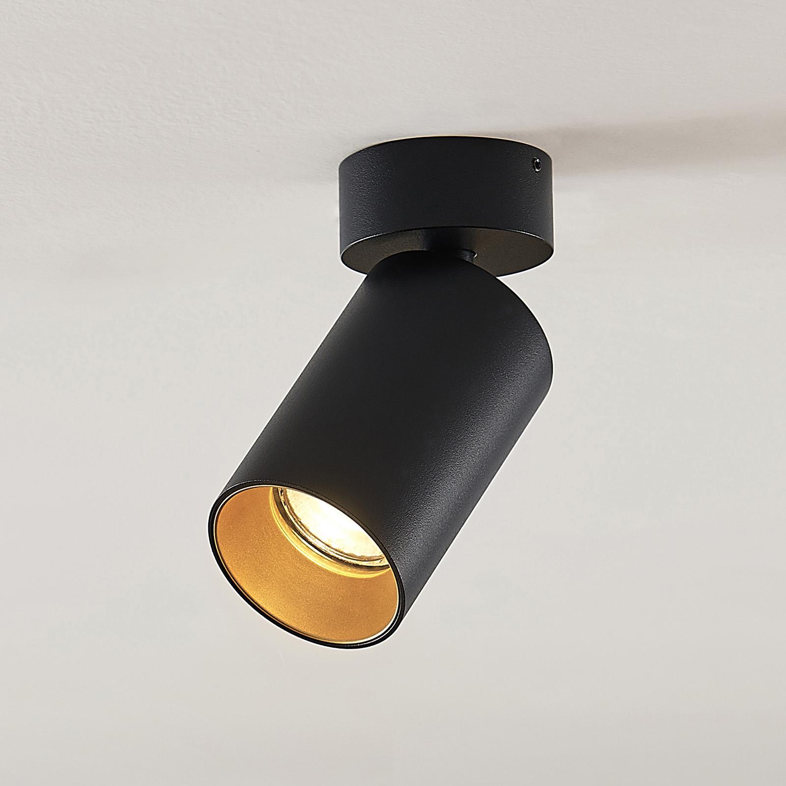 Arcchio Brinja spot, rund, svart-gull, 1 lyskilde
