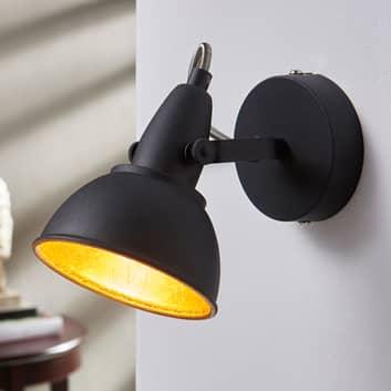 Julin sort og guldfarvet væglampe