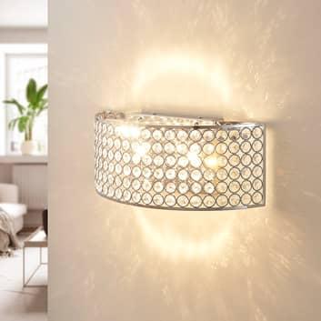 LED-Glaskristall-Wandleuchte Alizee in Chrom