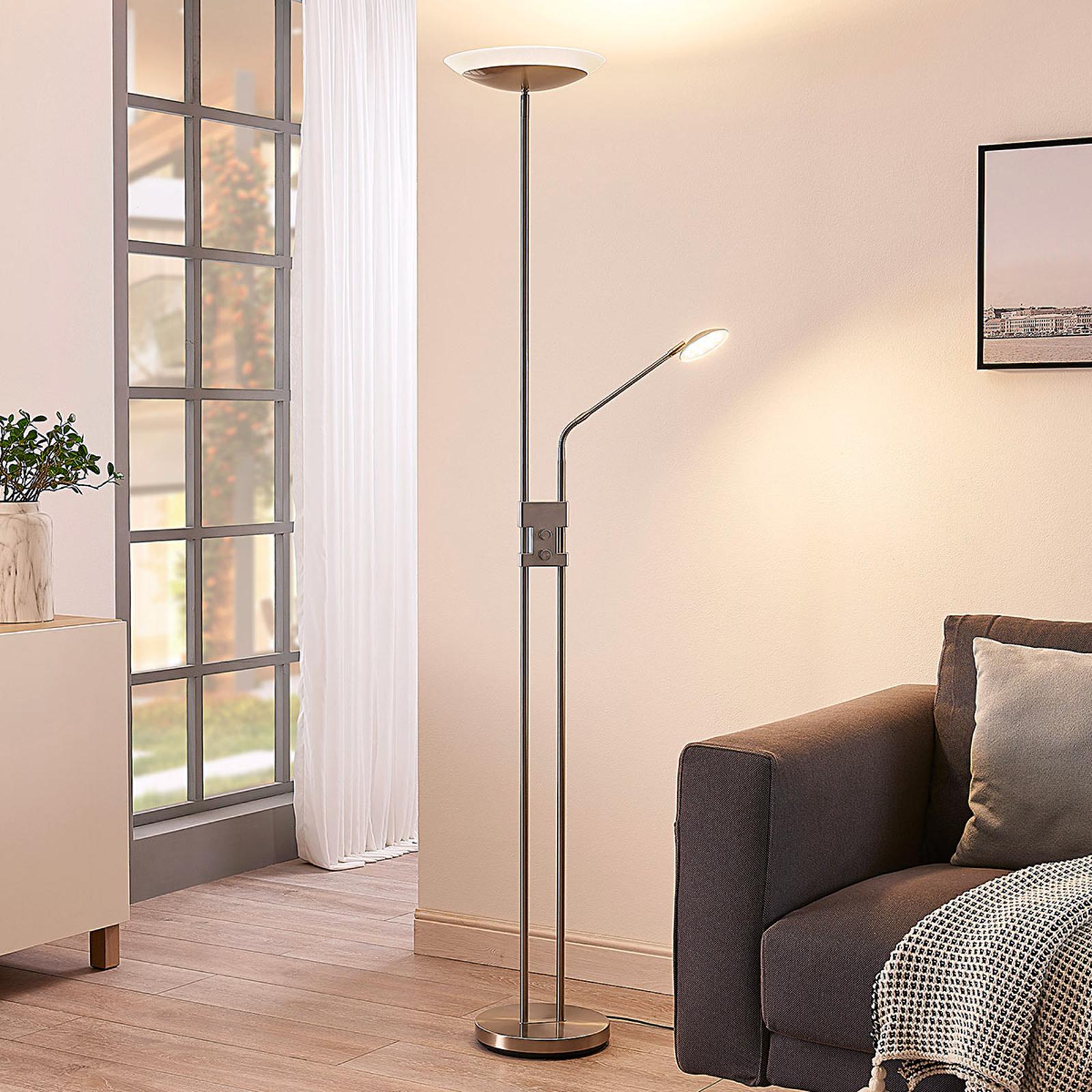 LED-uplighter Jonne met leeslamp, dimbaar, rond