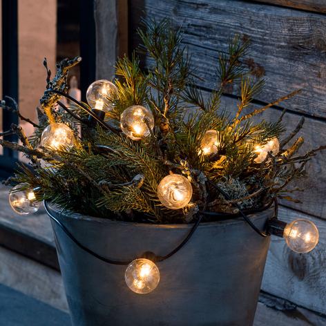 LED-lyskæde gløde-look, ravfarvet, 10 lyskilder