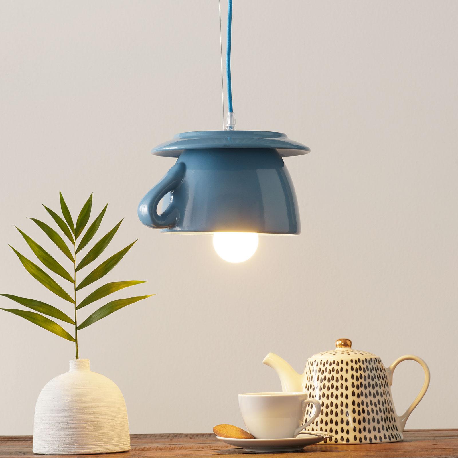 Ceramiczna lampa wisząca S184, błękitna
