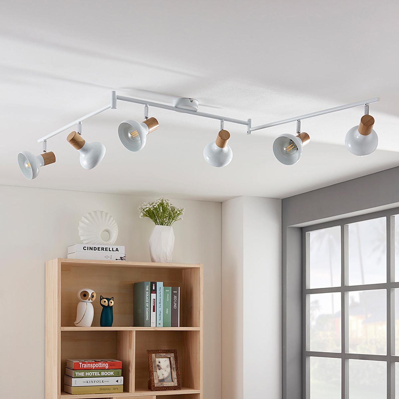 Plafondlamp Fridolin in wit metaal met twee lampen