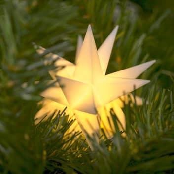 LED-stjerne, inde, 18-takket Ø 12 cm hvid batteri