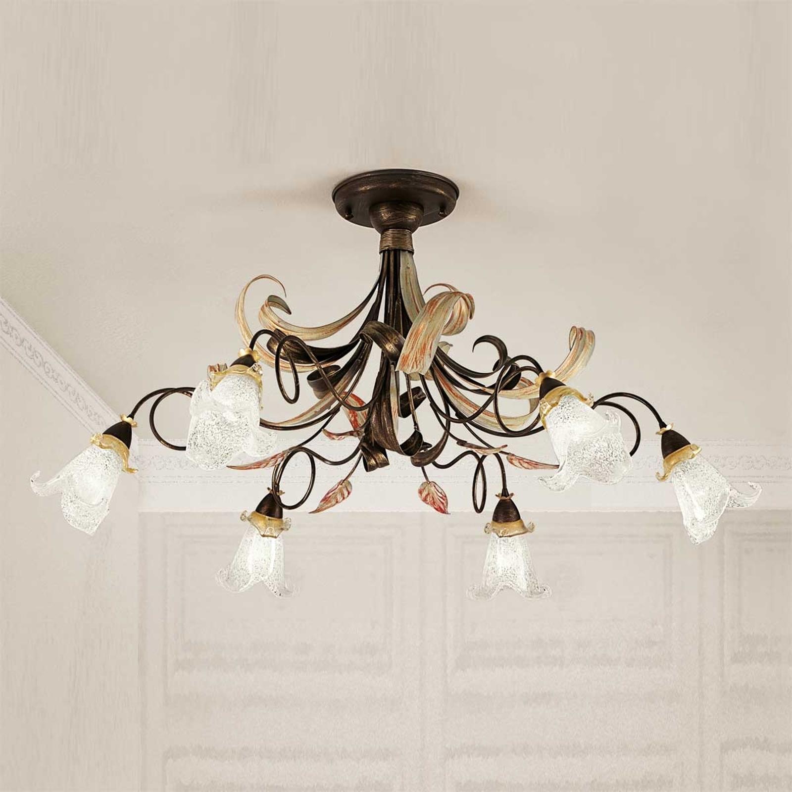 Florale plafondlamp Giuseppe, 6-lichts