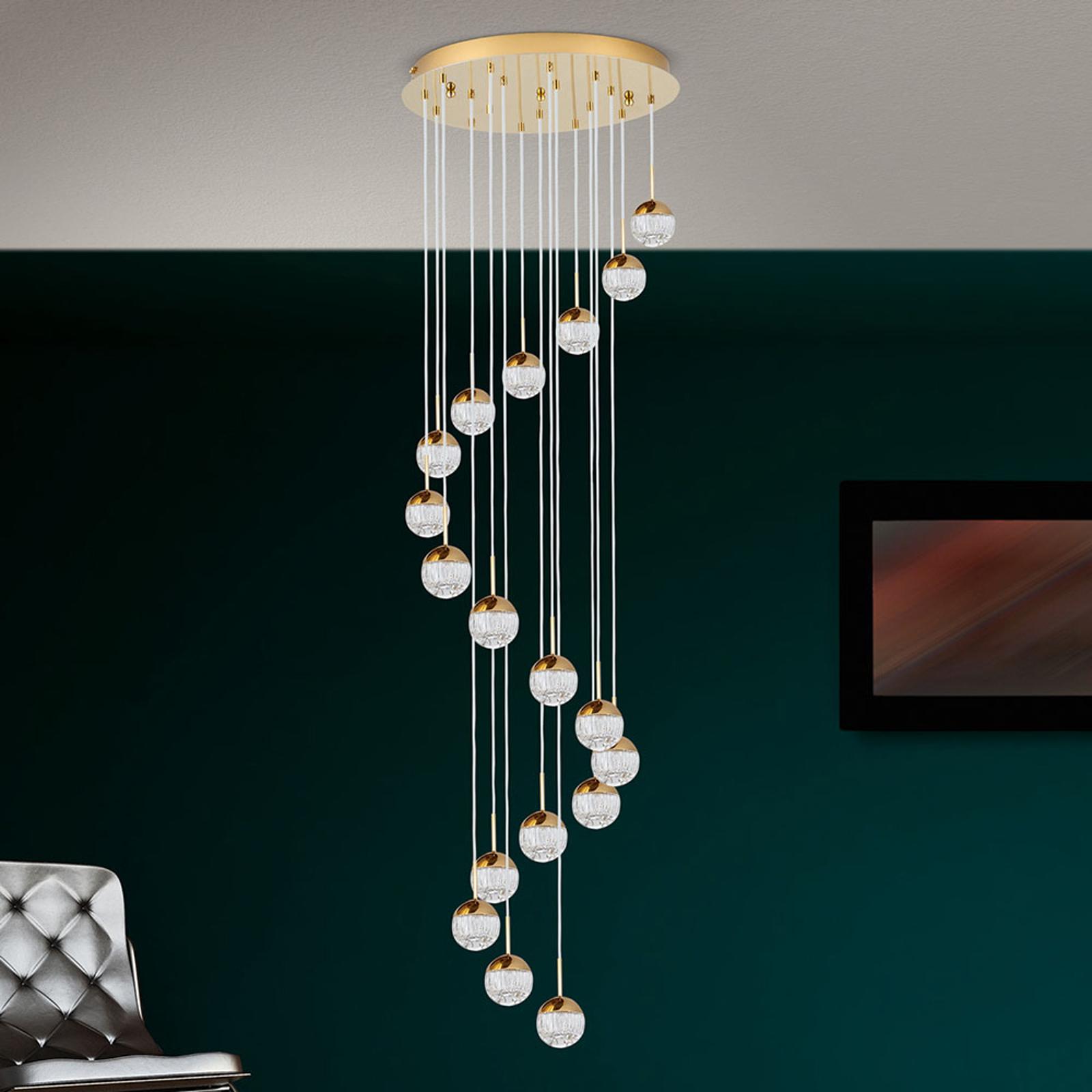 Lampa wisząca LED Ball 18-pkt. złota/kremowa