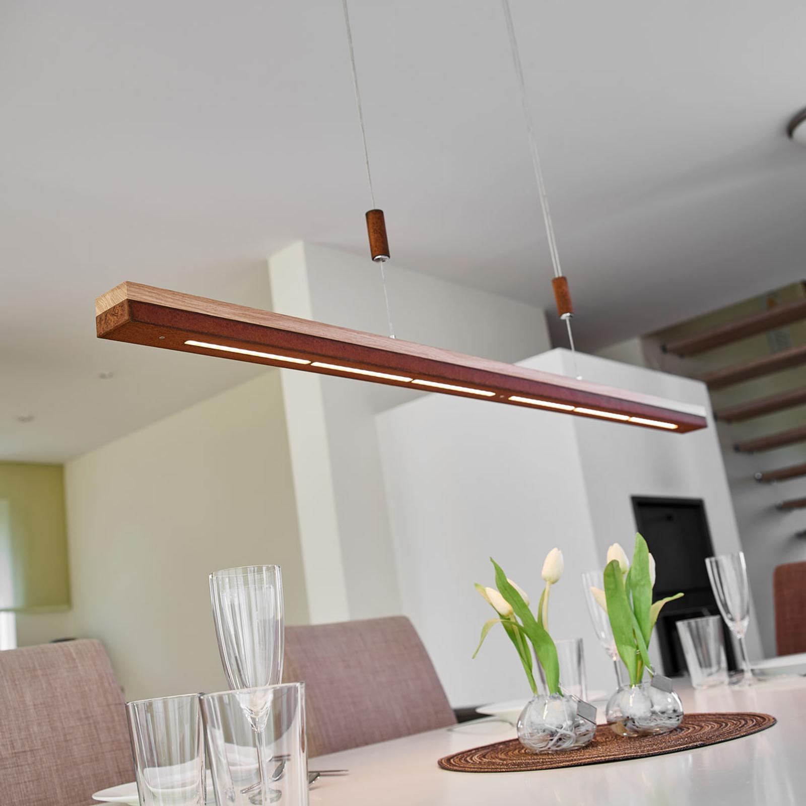Suspension LED Elna en rouille et bois, 118 cm