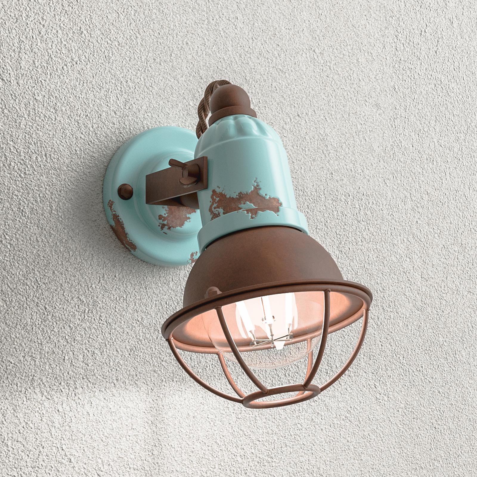 Wandlamp C1675/1 met mandje, 1-lamps, turquoise