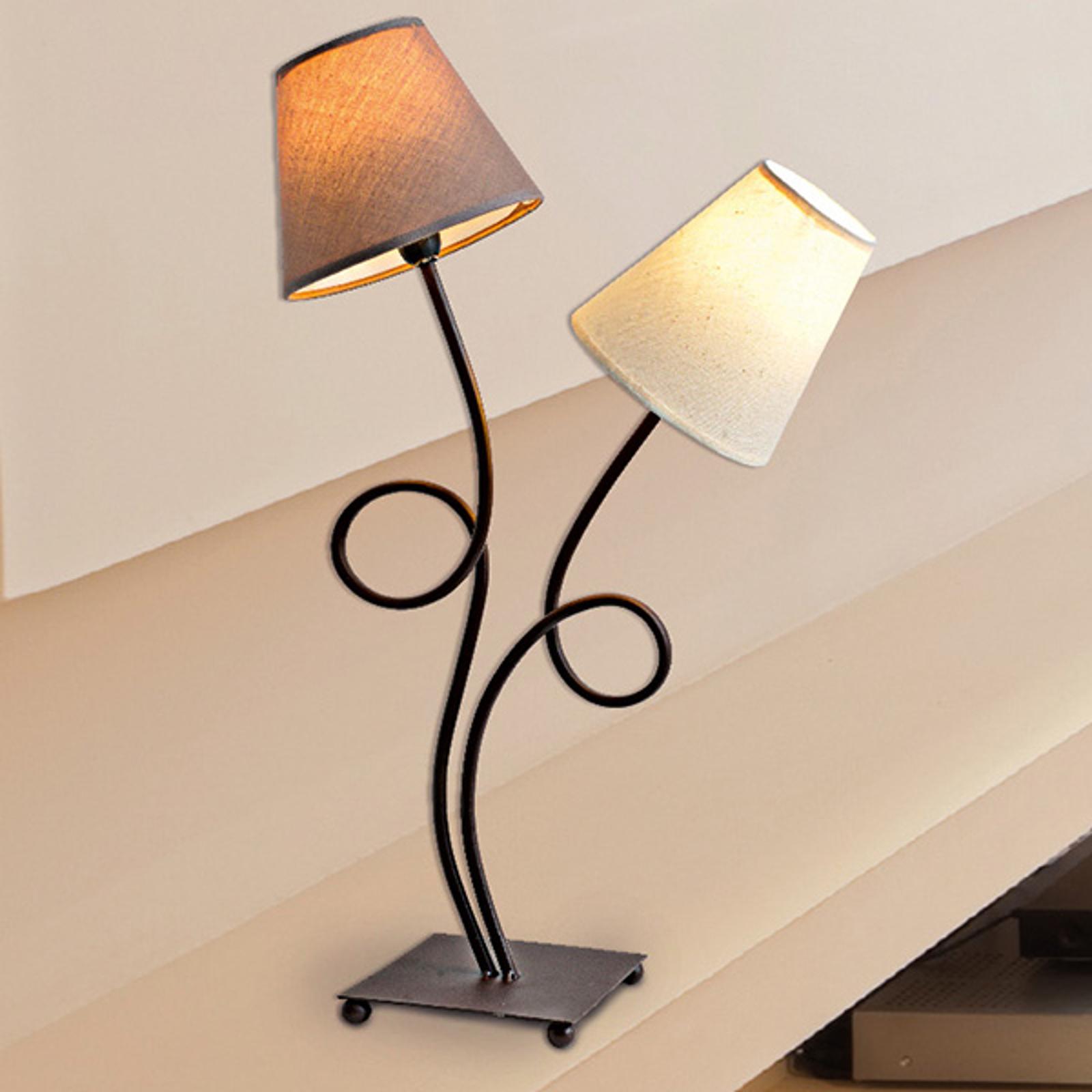 Tweeflammige stoffen tafellamp Twiddle