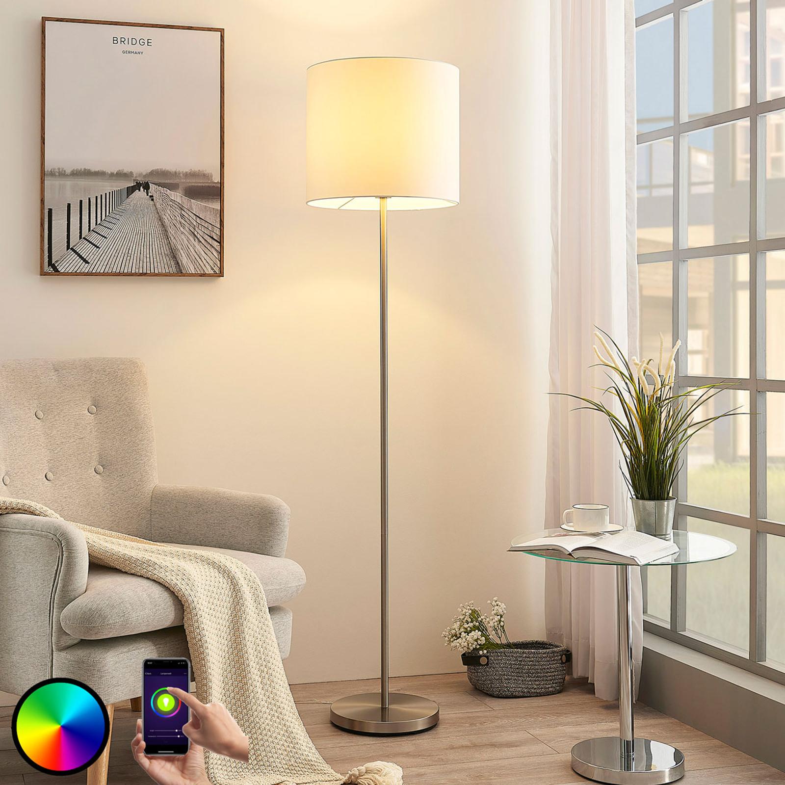 Lindby Smart LED vloerlamp Everly, app, RGB