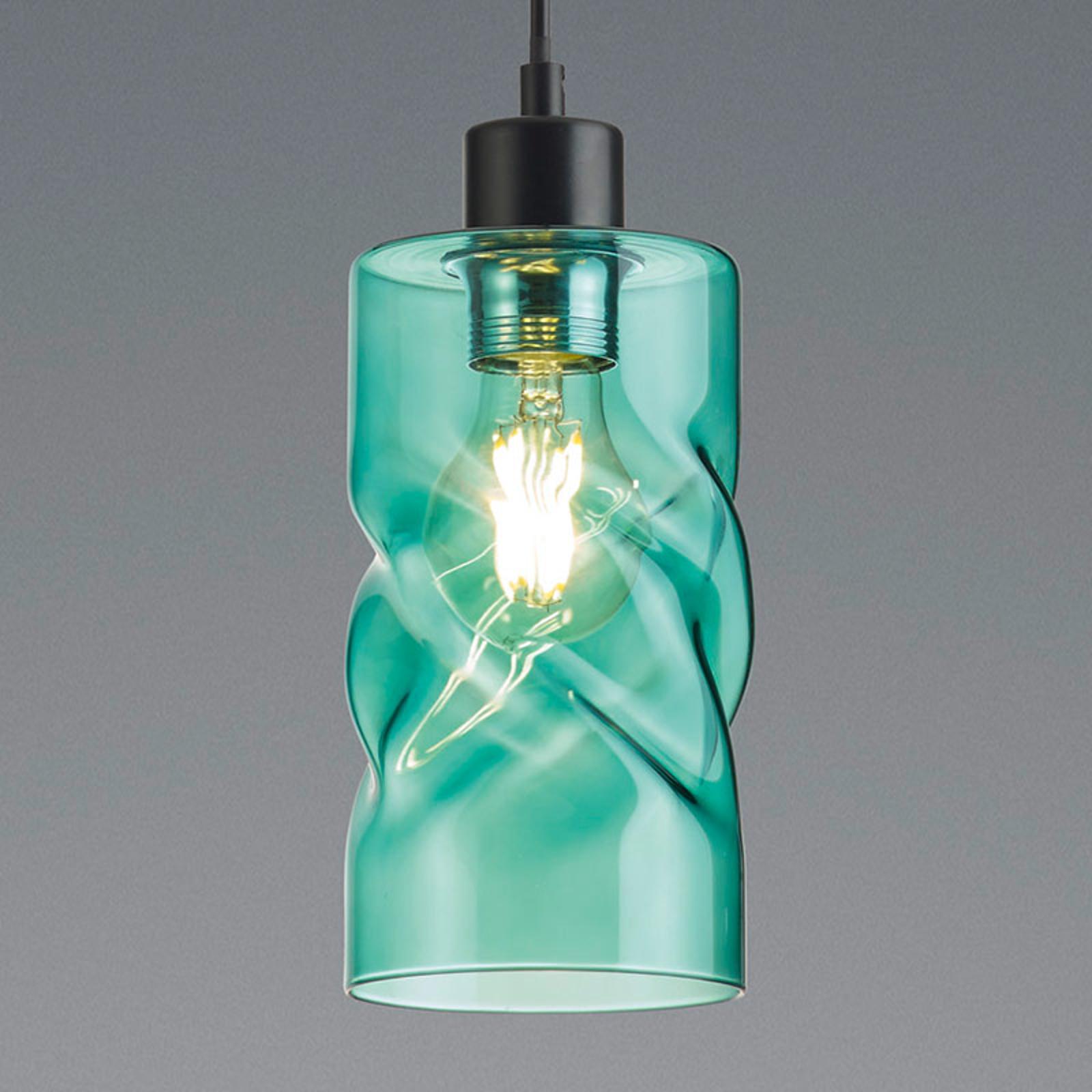 Lampa wisząca Swirl ze szkła, 1-pkt., turkus