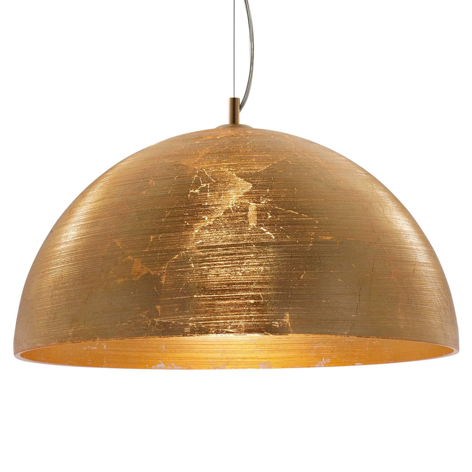 Suspension Dome dorée avec abat-jour en verre