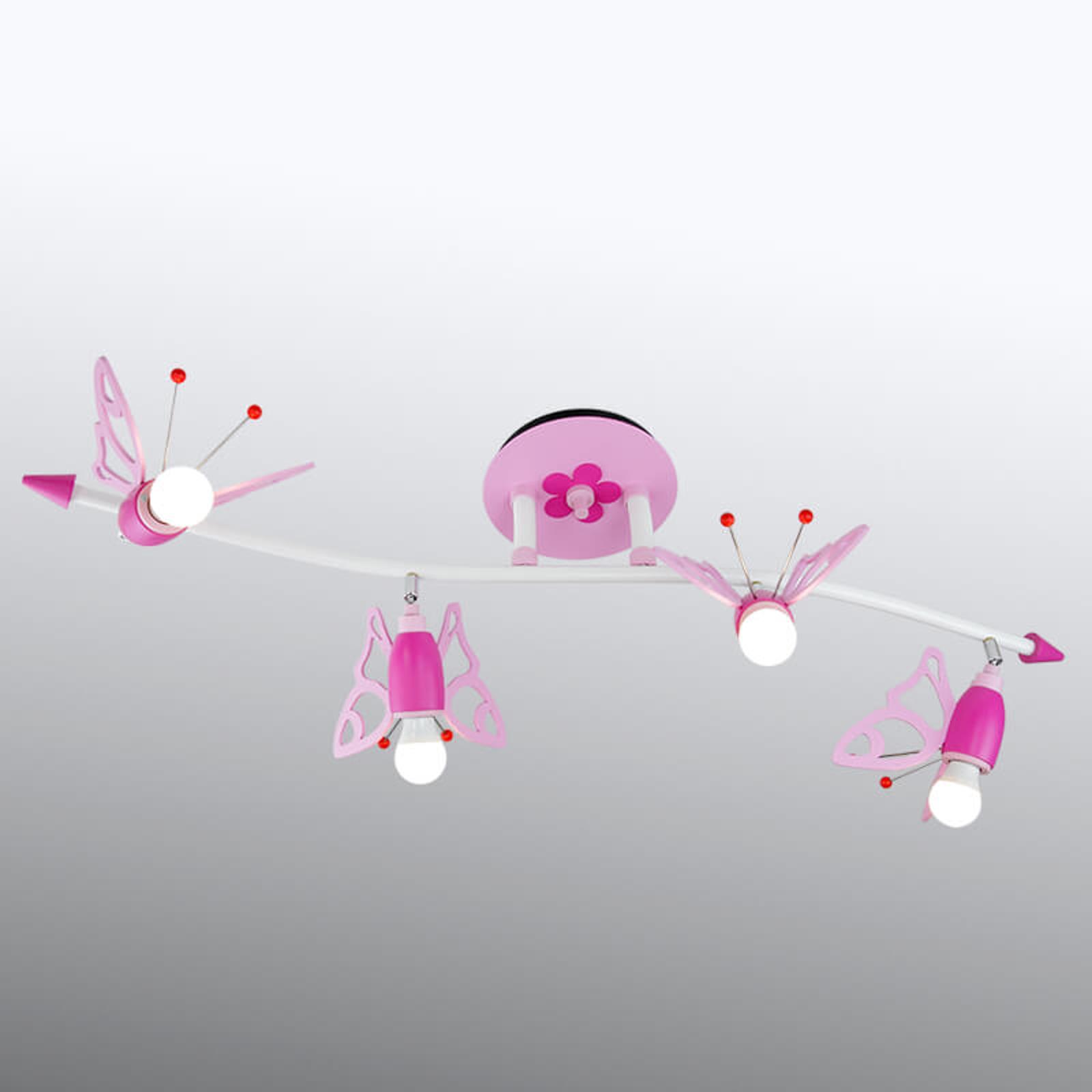 Takspotlight Falter för barnrummet, 4 lampor