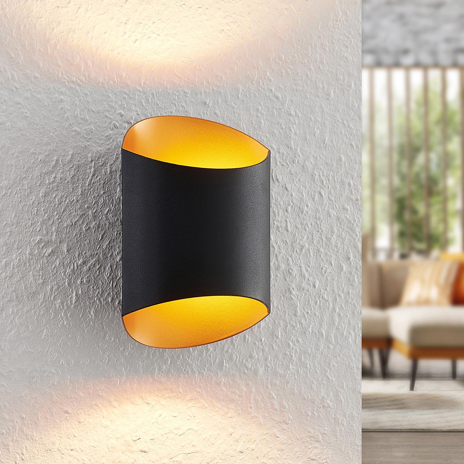 Arcchio Ayaz LED wandlamp, zwart-goud