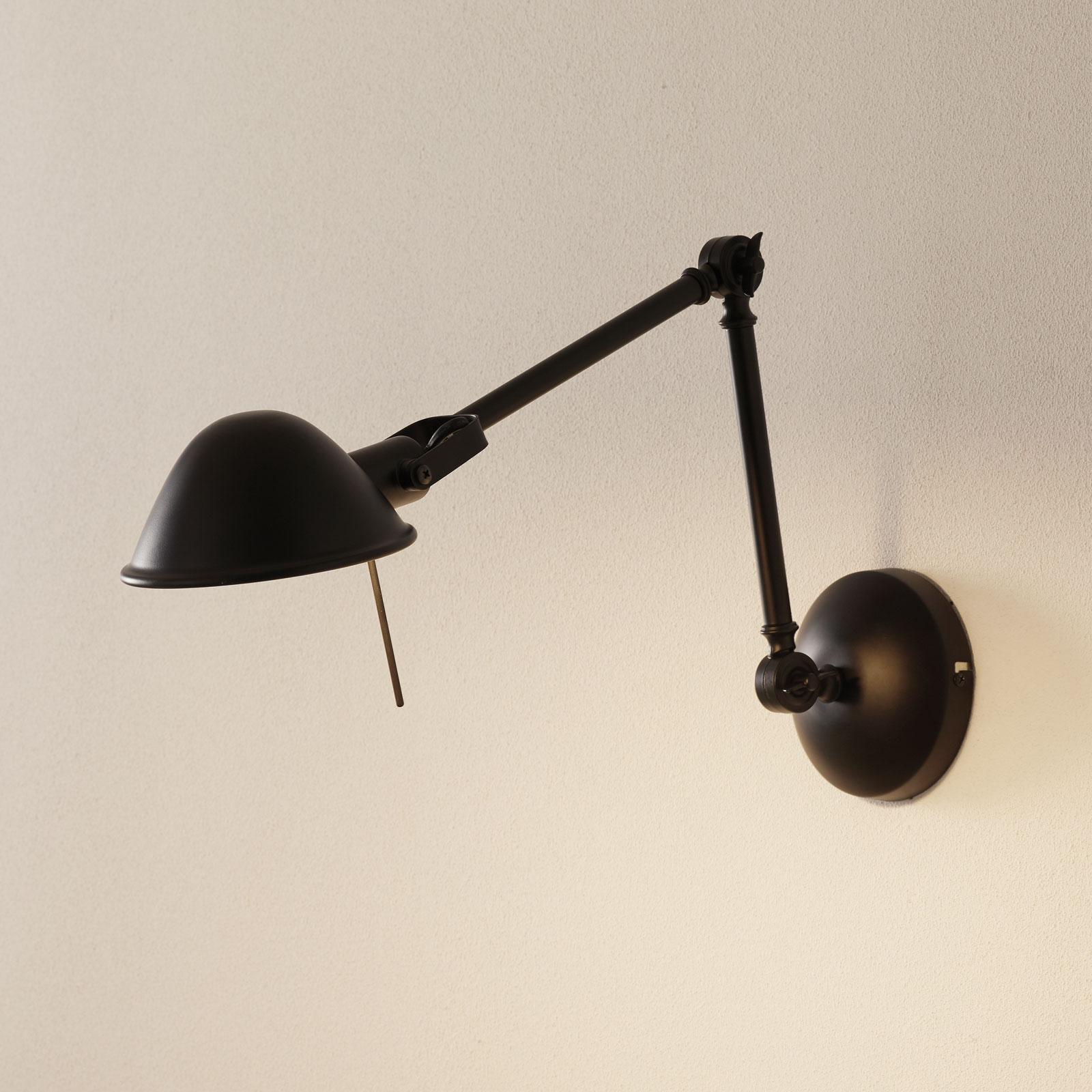 Regulowana lampa ścienna Torana, czarna