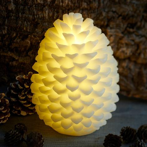 Candela LED Clara a forma di pigna, alta 20 cm