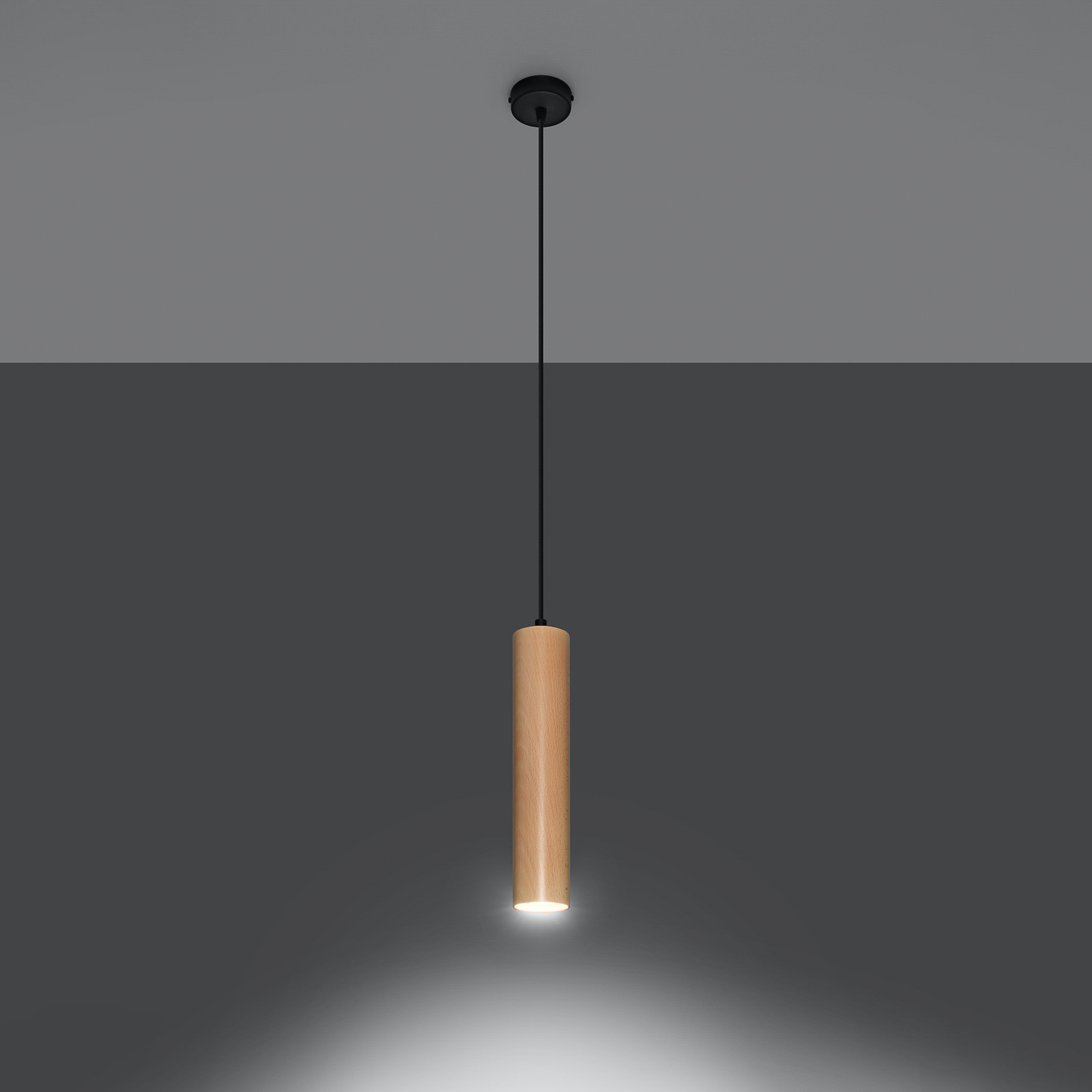 Hanglamp Tube van hout, 1-lamp