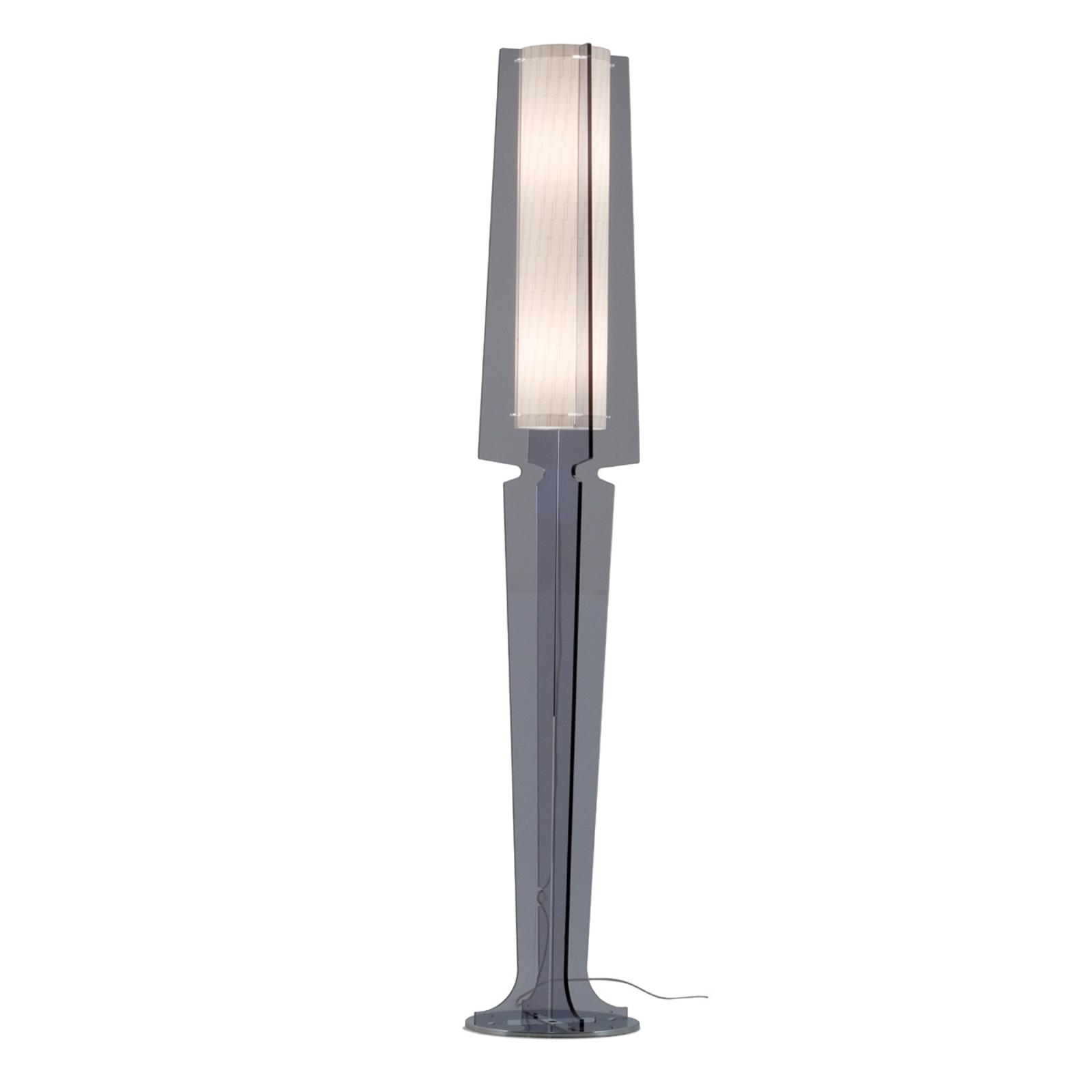 Kouřově šedá stojací lampa Dea
