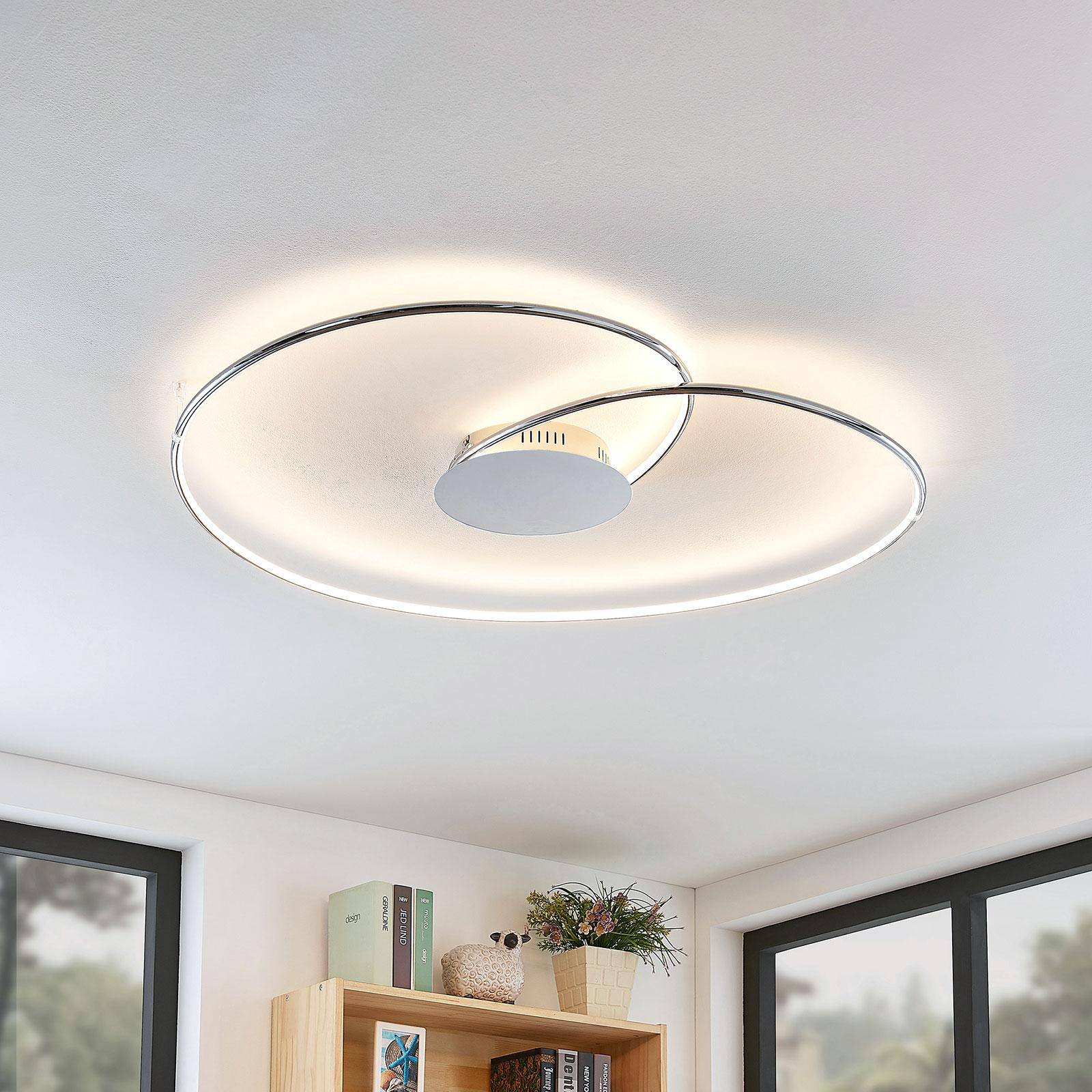 Lindby Joline plafonnier LED, chromé, 90 cm