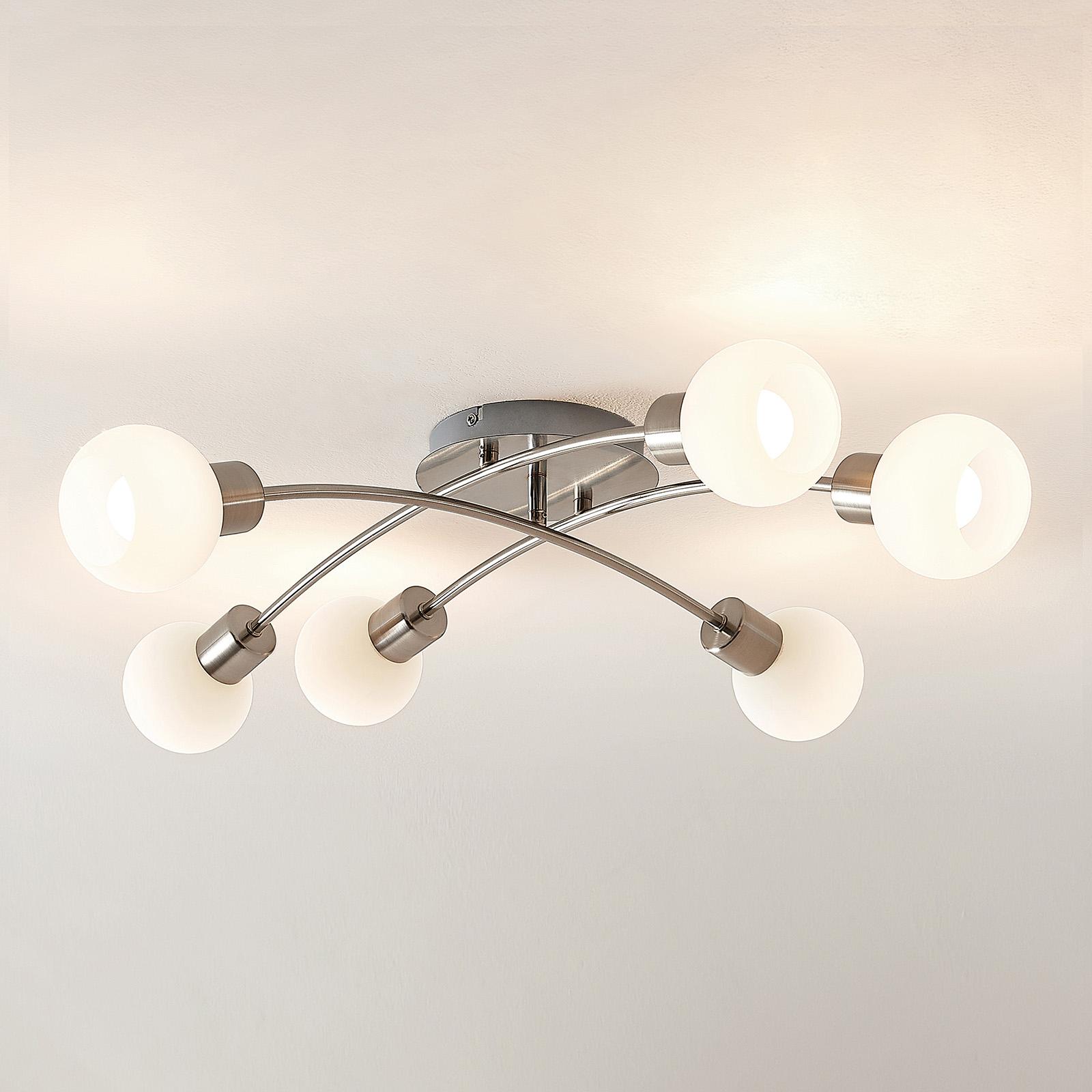 Lindby Agmar LED-Deckenleuchte, nickel, 6-fl.