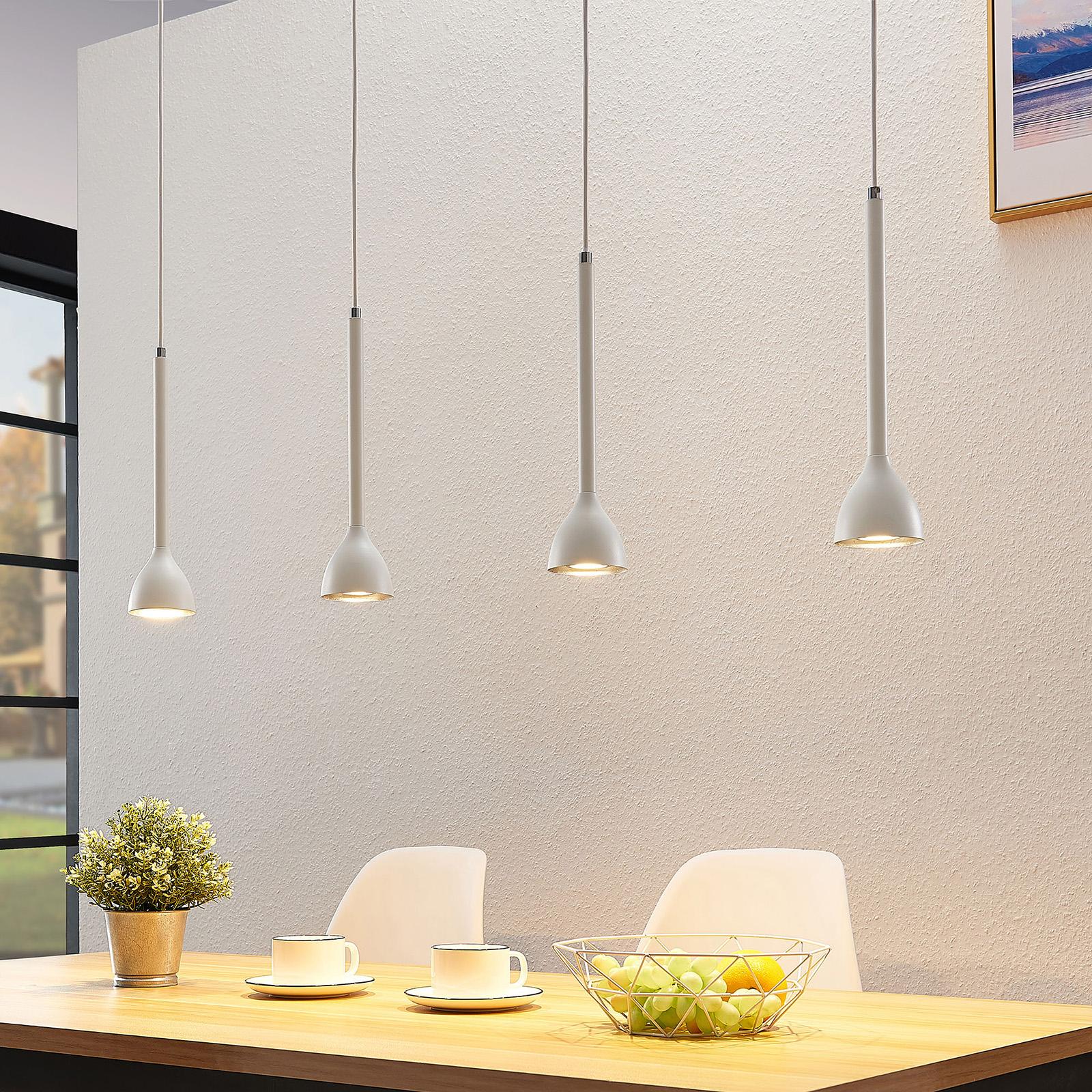 Hanglamp Nordwin, 4 lampje, wit-zilver