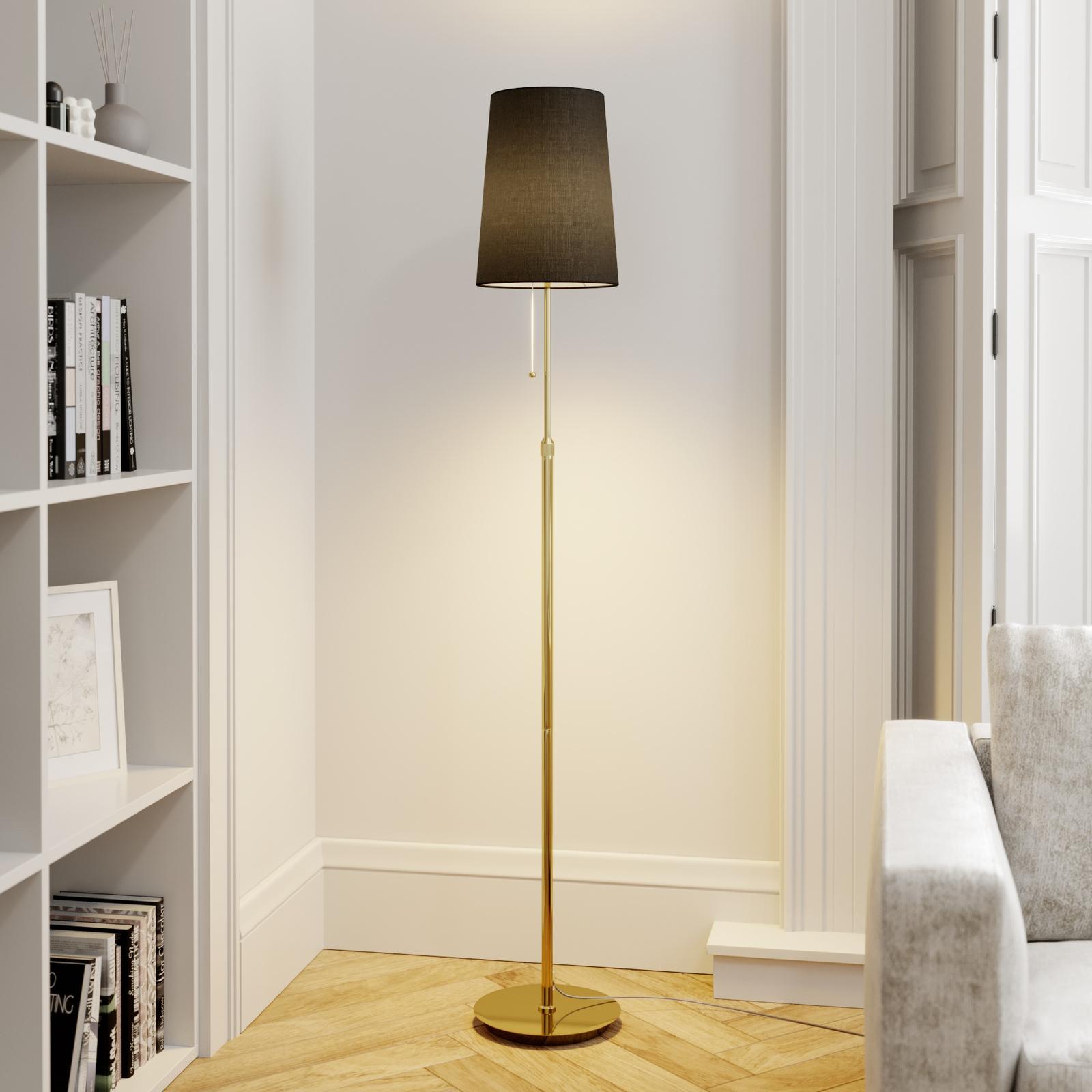 Lucande Pordis vloerlamp, 164 cm, messing-zwart