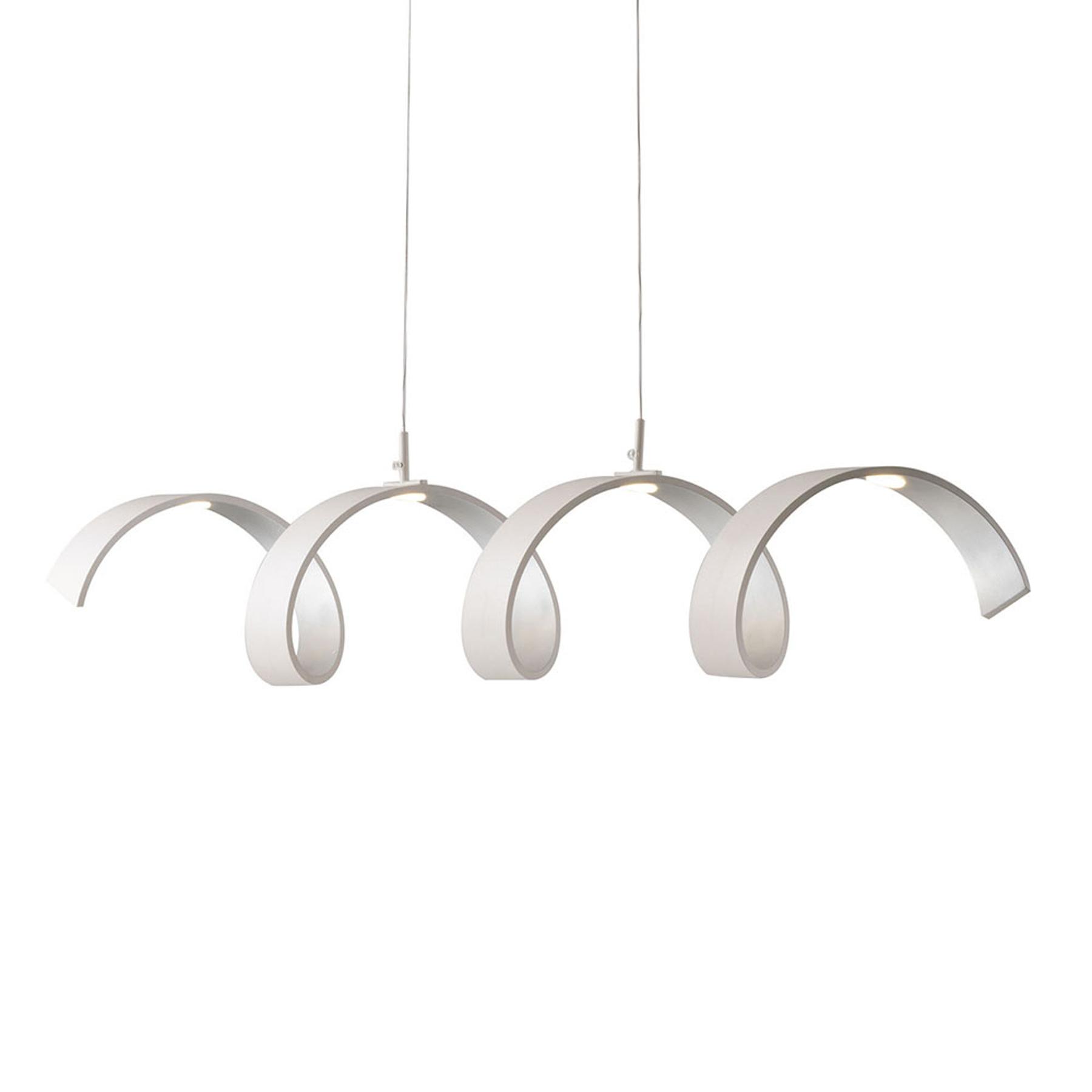 LED-Hängeleuchte Helix, weiß-silber, Länge 80 cm