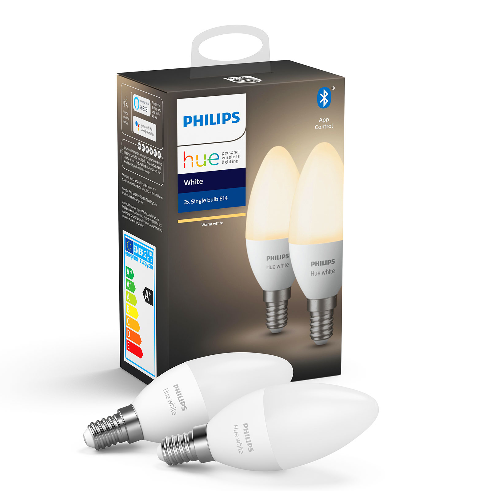 Philips Hue White 5,5W E14 2 ampoules flamme LED