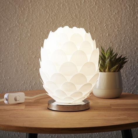 Stolná lampa Marees v bielej, Ø 15 cm