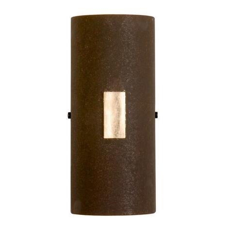 SOLO wandlamp in roest met bladgoud