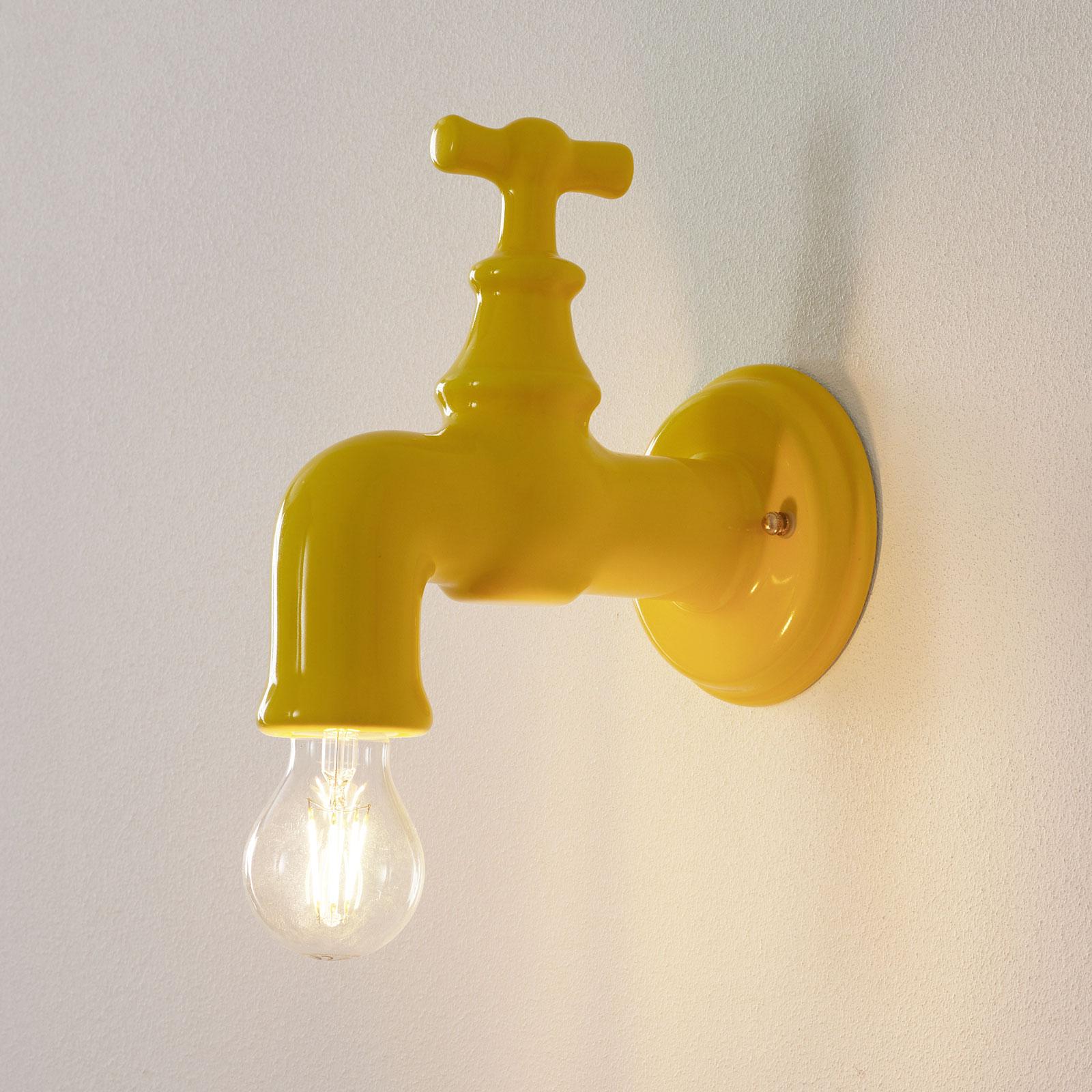 Keramik-Wandlampe A189, gelb glänzend