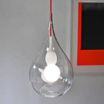 next Blubb 2 - Hängeleuchte Klarglas, Kabel in Rot