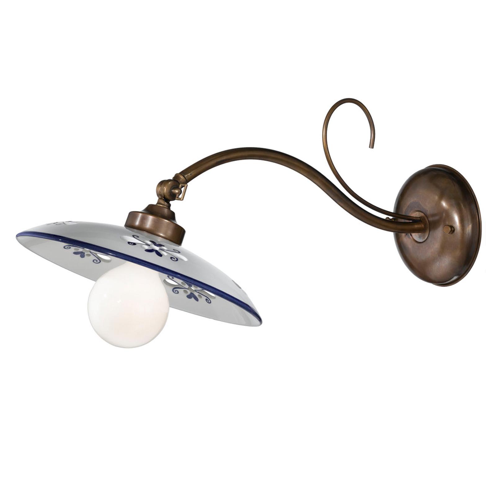 Lampa ścienna Bassano, klosz ceramiczny, niebieska