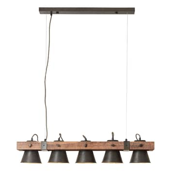 Hanglamp Plow 5-lamps, zwart/donker hout