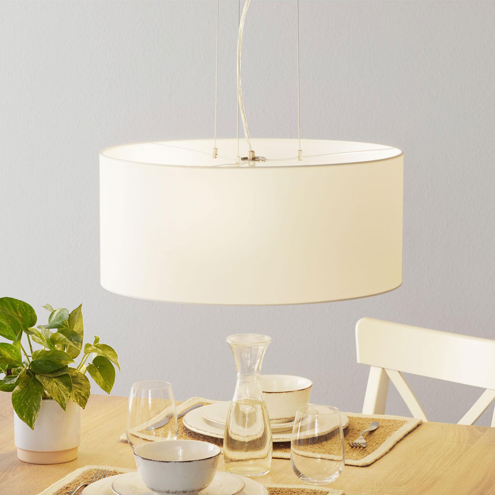 Lucande Patrik textilní závěsné světlo Ø53cm bílá