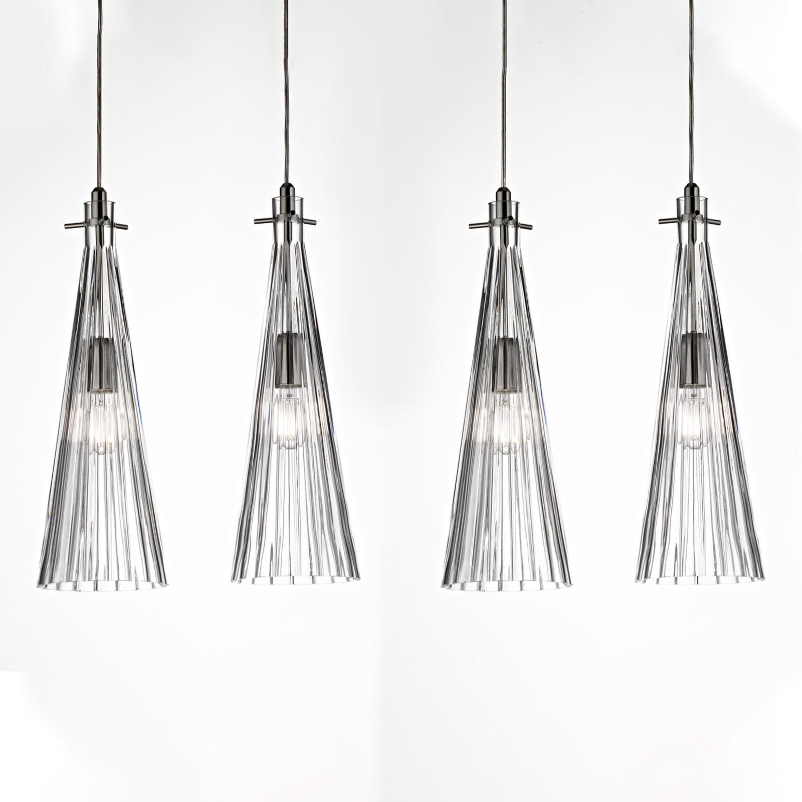Suspension Costa Rica, à 4 lampes, transparente