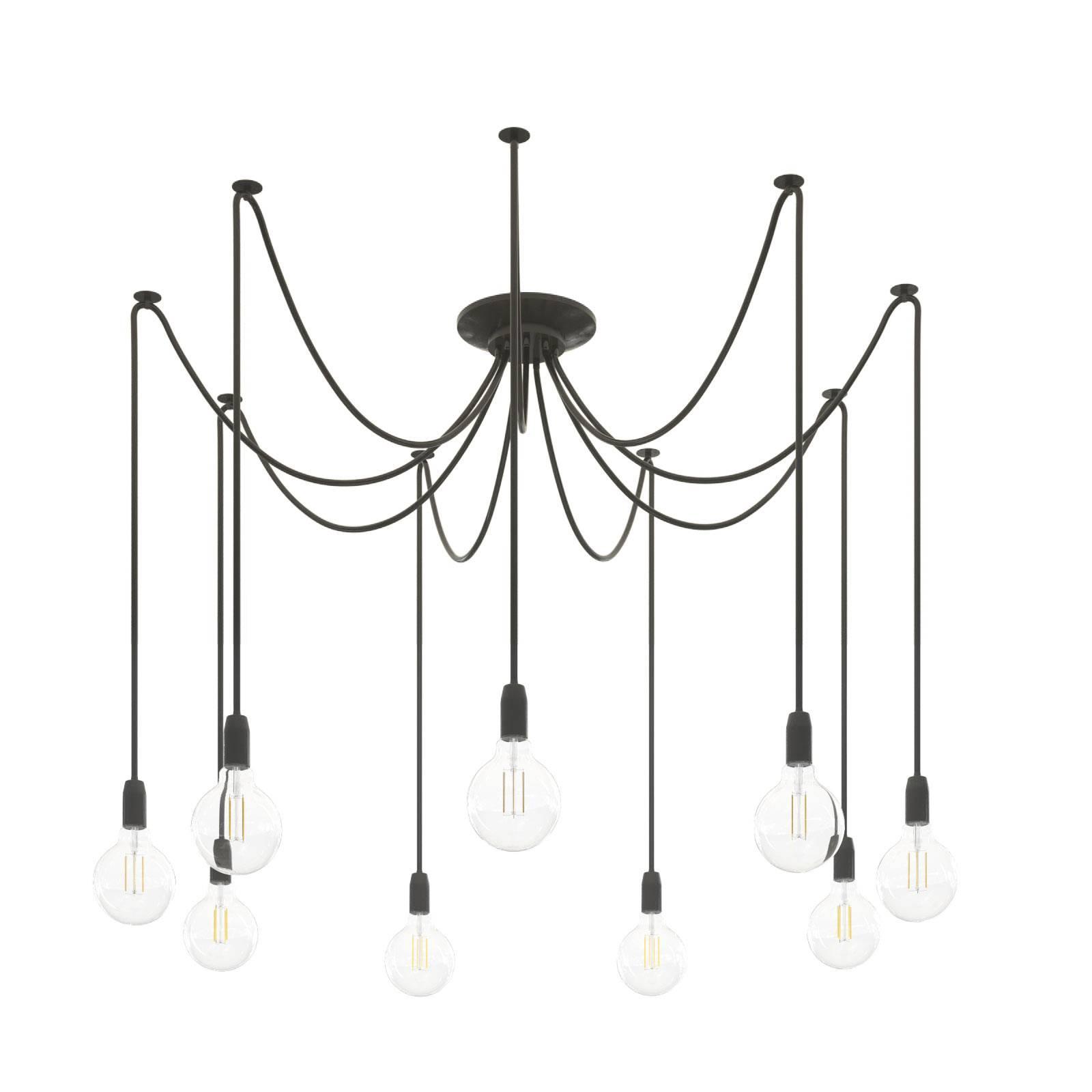 Hanglamp Phoenix, zwart, 9-lamps