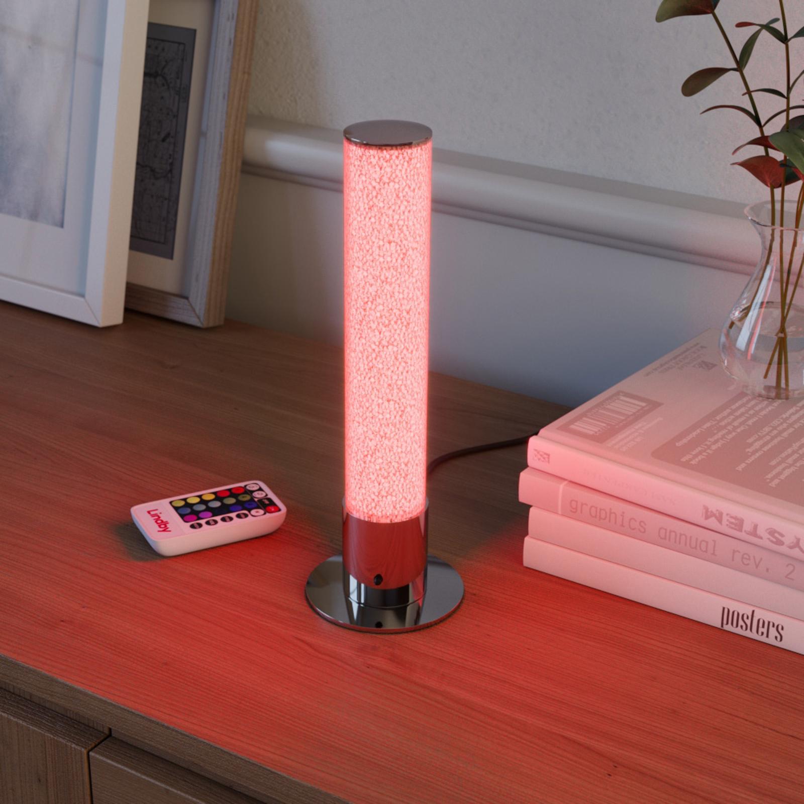 LED-pöytälamppu Fria, sylinteri, RGB, kaukosäädin